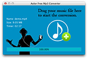 Free Mac MP3 Converter: to MP3 conversion finished