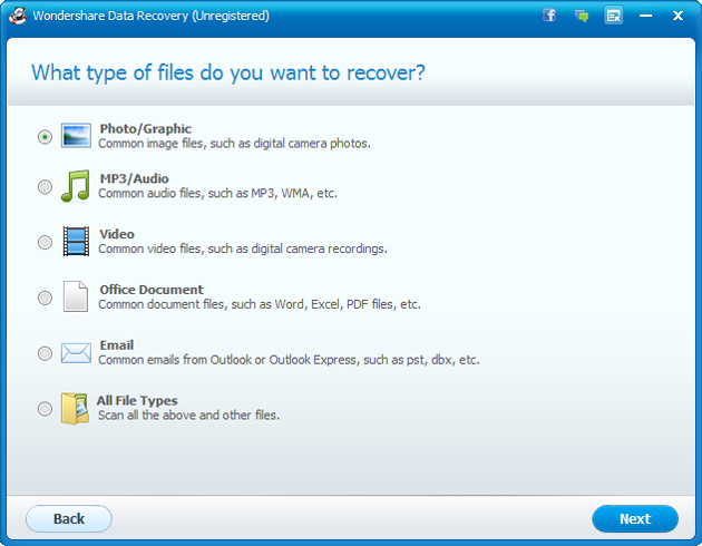 Galaxy S3 recovery: Select File Type