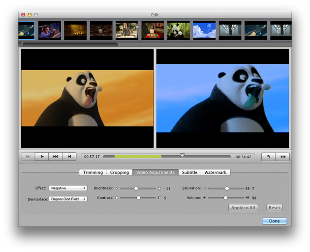 DVD Ripper for Mac: adjust video effects