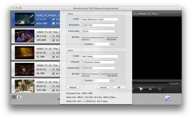 DVD Ripper for Mac: customzie output parameters