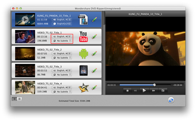DVD Ripper for Mac: pick audio track and subtitle