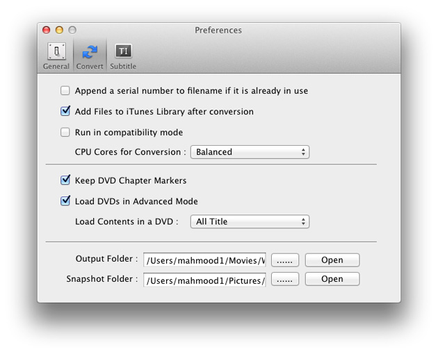 DVD Ripper for Mac: preferences