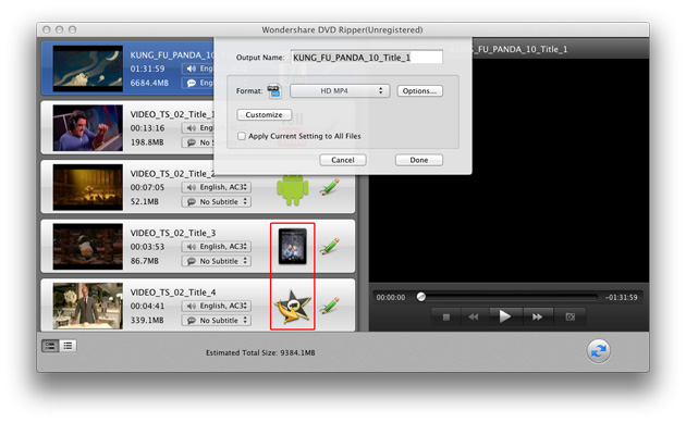 DVD Ripper for Mac: set output options