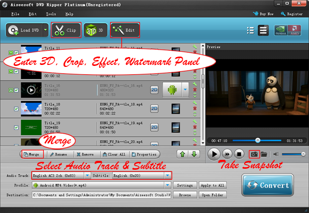 Convert DVD to Nexus 7: Edit output video