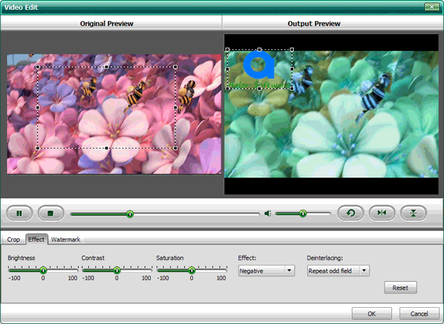 Adjust video effects