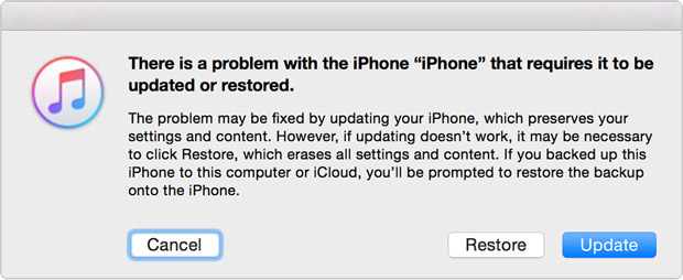 Restore or update iPhone in recovery mode