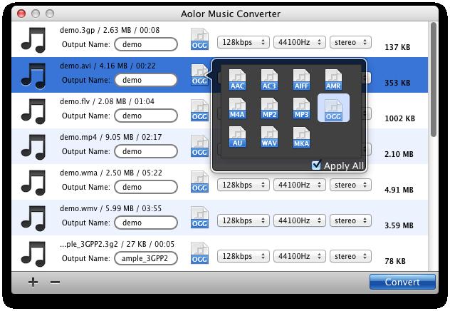 Set output audio formats