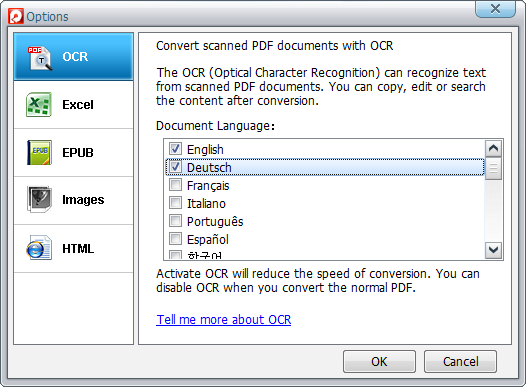 Set the languages of the PDF files for OCR