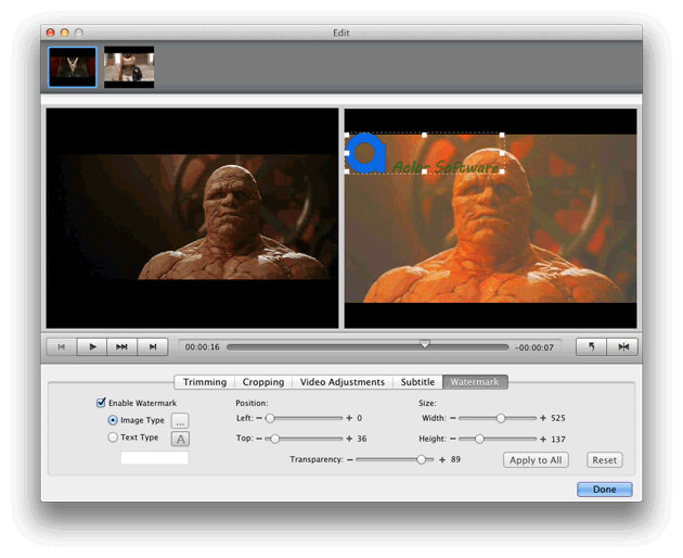 Video Converter Ultimate Mac: add watermark