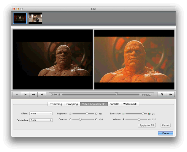 Video Converter Ultimate Mac: adjust video