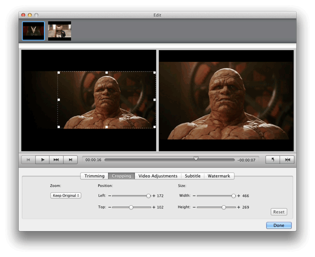 Video Converter Ultimate Mac: crop video