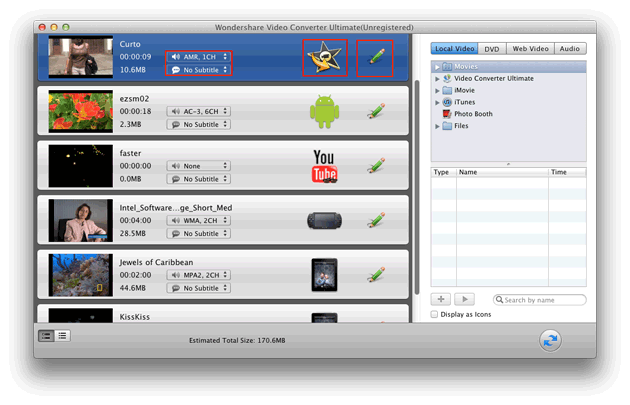 Video Converter Ultimate Mac: import DVD & videos
