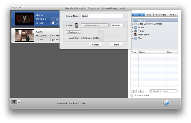 Video Converter Ultimate Mac: set output profiles