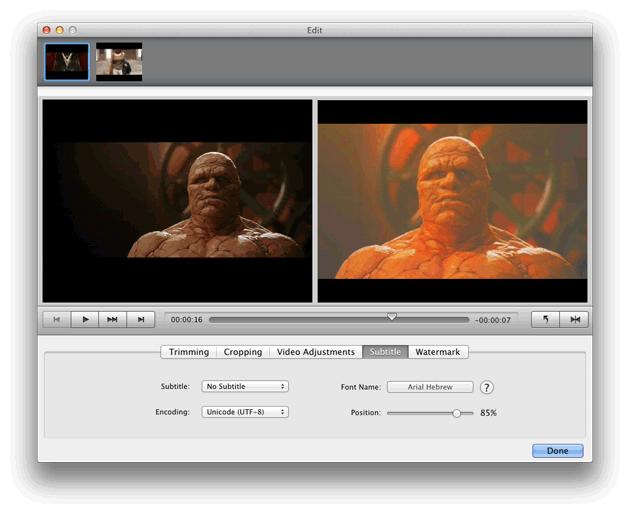 Video Converter Ultimate Mac: set subtitle