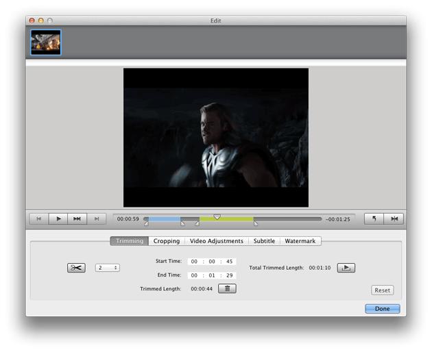 Video Converter Ultimate Mac: trim video